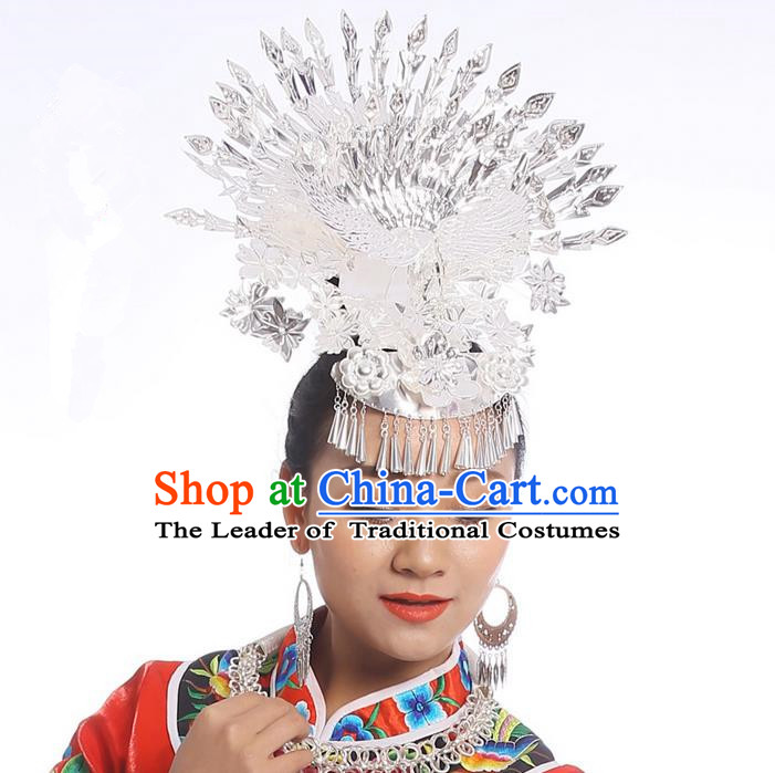 Traditional Chinese Miao Nationality Wedding Accessories Peacock Crown, Hmong Female Wedding Ethnic Silver Phoenix Headwear, Chinese Minority Nationality Hat for Women