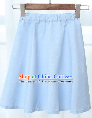 Chinese Style Skirt Min Guo Student Dress Girl Female Kids Show Costume Stage Clothes Blue