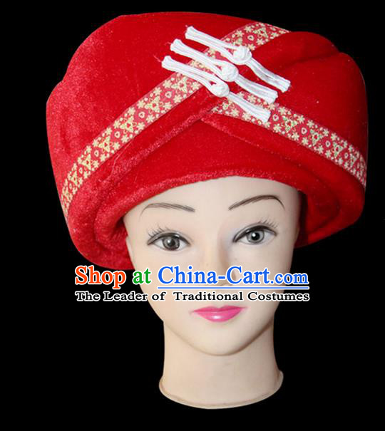 Traditional Chinese Miao Nationality Jewelry Accessories Hats, Tujiazu Ethnic Accessories, Chinese Minority Tujia Nationality Embroidery Headwear Hat for Women