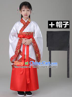Traditional Chinese Dress Girls Han Fu Han Dynasty Clothes RuQun Children Kid Stage Show Ceremonial Costumes White
