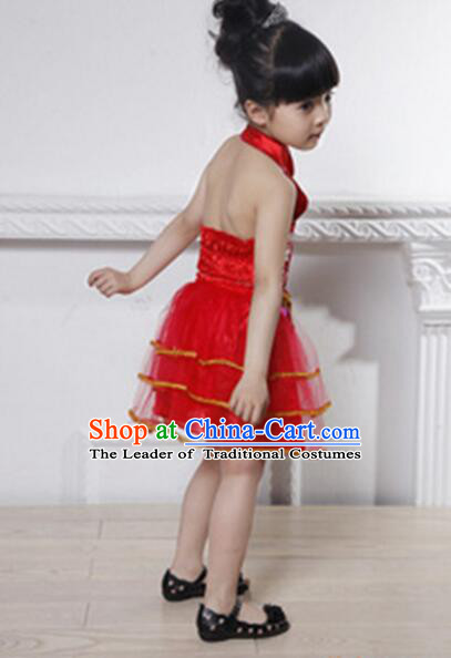 Skirt For Children Girl Qipao Style Chinese Traditional Summer Princess Dress Red