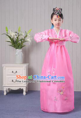 Korean Traditional Costumes Girl Dress Stage Show Dancing Clothes Pink
