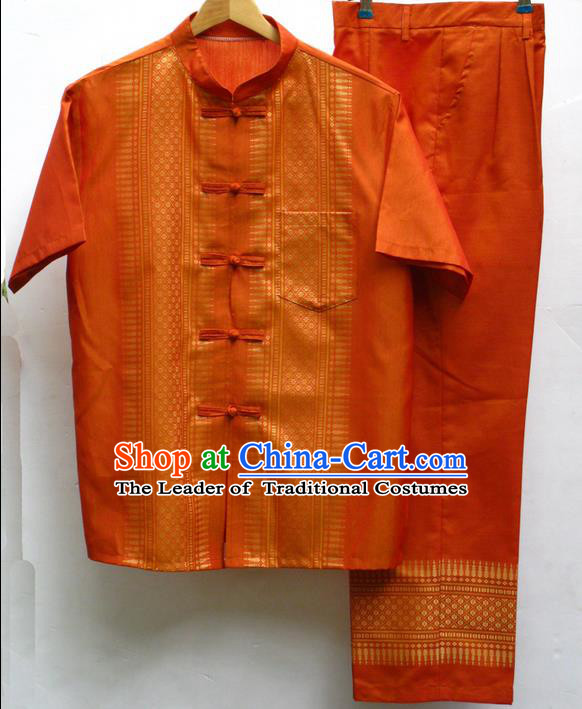 Traditional Asian Thai Male Costume Set, High-Grade Thai Silk Clothes and Trousers for Men