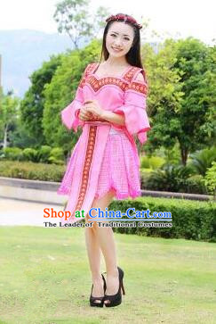 Traditional Chinese Miao Nationality Improved Wedding Costume, Hmong Luxury Female Folk Dance Ethnic Bride Short Skirt, Chinese Minority Nationality Embroidery Costume for Women