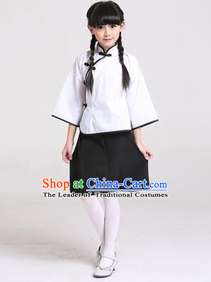 Chinese Traditional Clothes for Children Girl Wu Si Period Student Youth Day Stage Costume White