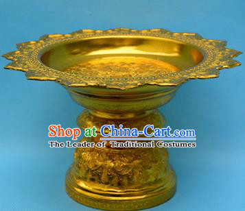 Traditional Asian Thai Palace decoration Ornaments Handicrafts, Thai Sacrificial High Tray Gilded Compote