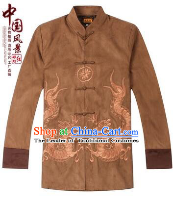 Tang Suit for Men Coat Long Sleeves Chinese Style Dress Traditional Top Chinese Loong Embroidery Ceremonial Full Clothes Brown