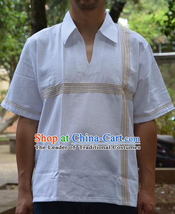 Traditional Asian Thai Palace Men Costume T-Skirt, Thai Signature Cotton Dress Shirt for Men