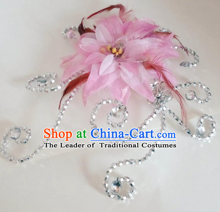 Traditional Chinese Yangge Hair Accessories, Fan Dancing Headwear, Folk Dance Yangko Headdress, China National Minority Peacock Dancing Stage Accessories