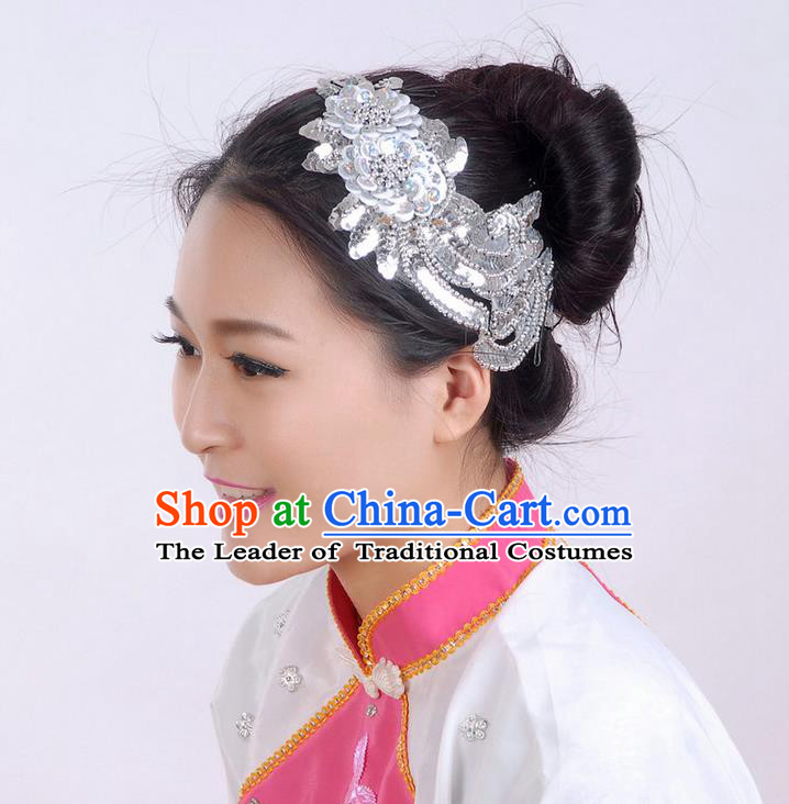Traditional Chinese Yangge Hair Accessories, Fan Dancing Headwear, Folk Dance Yangko Headdress, Stage Accessories Minimum Purchase 10