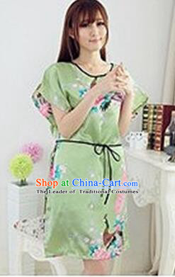 Night Suit for Women Night Gown Bedgown Leisure Wear Home Clothes Chinese  Traditional Style Peacock Green 2d31149cb