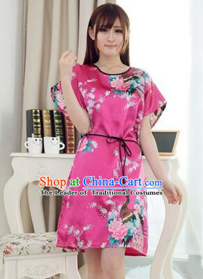 Night Suit for Women Night Gown Bedgown Leisure Wear Home Clothes Chinese Traditional Style Peacock Rose Red