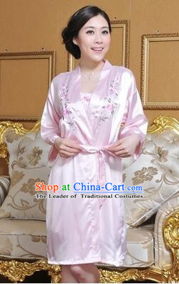 Embroidery Night Gown Women Sexy Camisole Skirt Two Pieces Night Suit  Nighty Bedgown Pink 65bca8b79