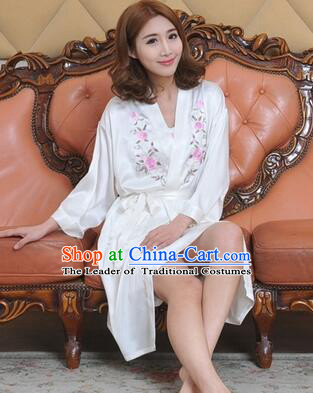 Embroidery Night Gown Women Sexy Camisole Skirt Two Pieces Night Suit Nighty Bedgown White