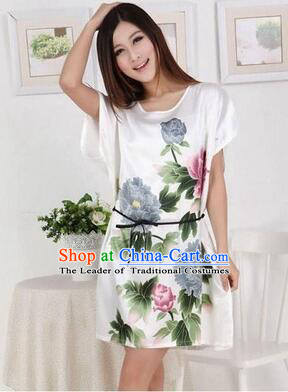 Night Gown Women Sexy Skirt Night Suit Nighty Bedgown Peony White 899f7df28