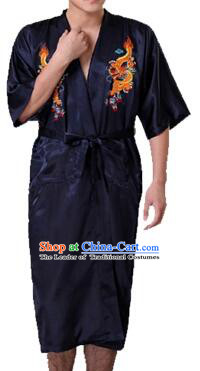 New Style Kimono Dragon Embroidered Chinese Loong Dragon Men Night Gown Leisure Clothes for Emperors Black