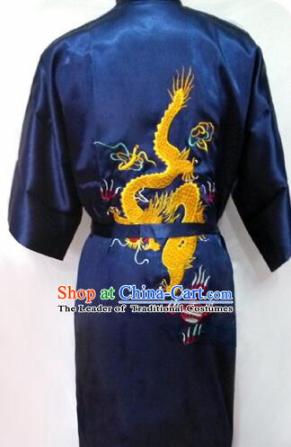 New Style Kimono Dragon Embroidered Chinese Loong Dragon Men Night Gown Leisure Clothes for Emperors Dark Blue