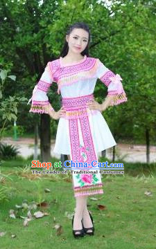 Traditional Chinese Miao Nationality Costume, Hmong Luxury Improved Female Folk Dance Ethnic Short Skirt, Chinese Minority Nationality Embroidery Costume for Women