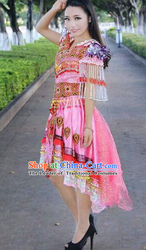 Traditional Chinese Miao Nationality Costume Set, Hmong Luxury Improved Bride Folk Dance Ethnic Short Skirt, Chinese Minority Nationality Embroidery Costume for Women