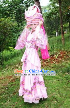 Traditional Chinese Miao Nationality Costume Set, Hmong Luxury Improved Bride Folk Dance Ethnic Long Pink Skirt, Chinese Minority Nationality Embroidery Costume for Women