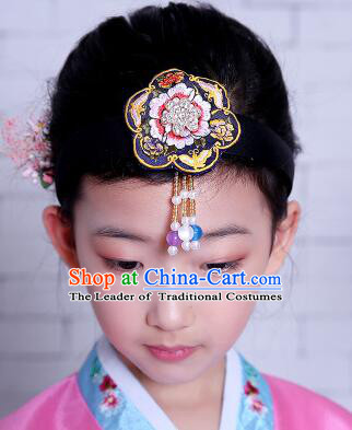 Korean Hair Accessory for Girl Children Hair Accessories Strap Ties Headwrap Kerean Traditional Blue