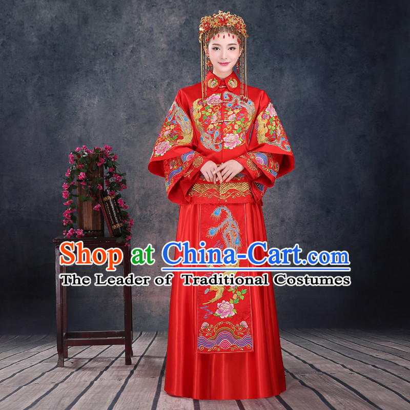 Ancient Chinese Costume, Xiuhe Suits, Chinese Style Wedding Dress, Red Ancient Women Longfeng Dragon And Phoenix Flown, Bride Toast Cheongsam