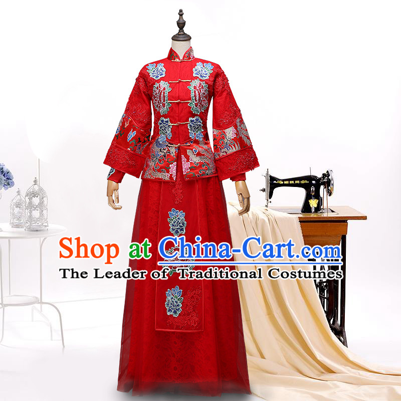 Ancient Chinese Collar Costume Dress, Toast Red Cheongsam, Xiuhe Suits Wedding Dress, Red Ancient Women Flown, Bride Cheongsam