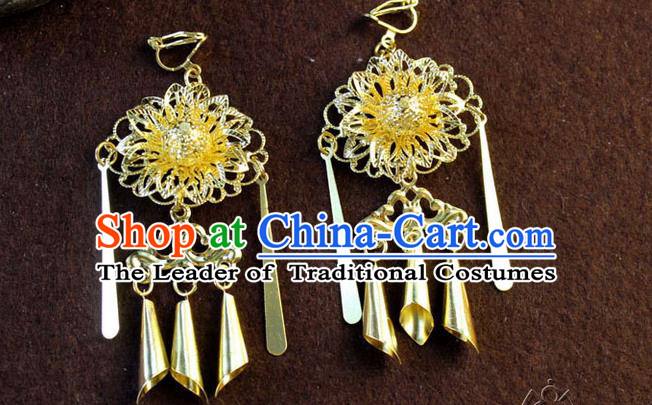 Ancient Chinese Style Imperial Palace Empress Queen Wedding Earrings For Women