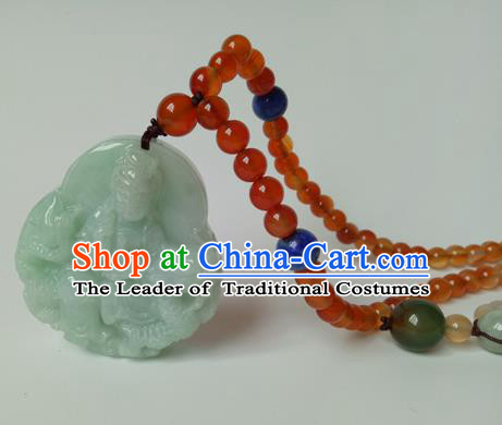 Chinese Imperial Queen Necklace, Hanfu Cosplay Traditional Chinese Jade Empress Necklaces