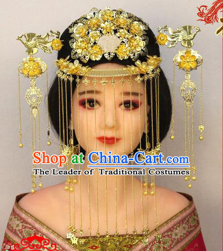 Chinese Ancient Style Hair Jewelry Accessories, Hairpins, Tang Dynasty Xiuhe Suits Wedding Bride Headwear, Headdress, Imperial Empress Queen Handmade Hair Fascinators for Women