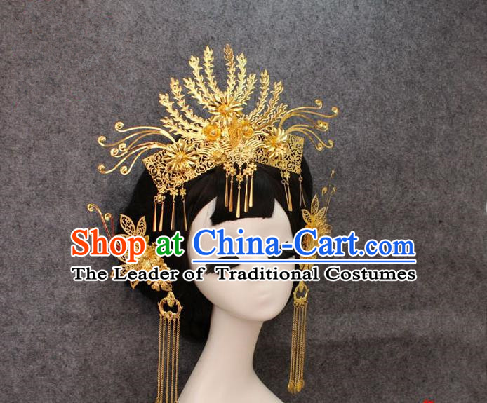Chinese Ancient Style Hair Jewelry Accessories, Hairpins, Tang Dynasty Xiuhe Suits Wedding Bride Headwear, Headdress, Imperial Empress Handmade Phoenix Hair Fascinators for Women