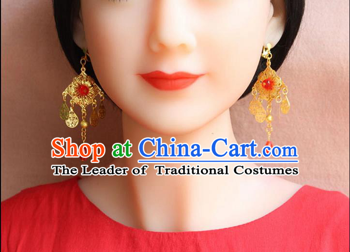 Ancient Chinese Style Imperial Palace Empress, Queen Wedding Earrings For Women