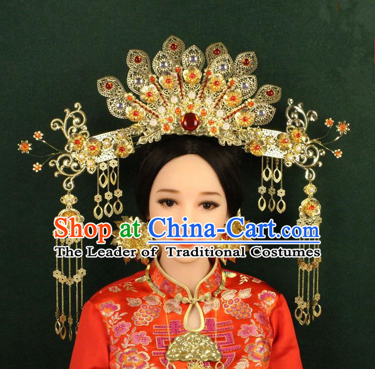 Chinese Ancient Style Hair Jewelry Accessories, Hairpins, Tang Dynasty Xiuhe Suits Wedding Bride Imperial Empress, Cosplay Queen Handmade Phoenix for Women