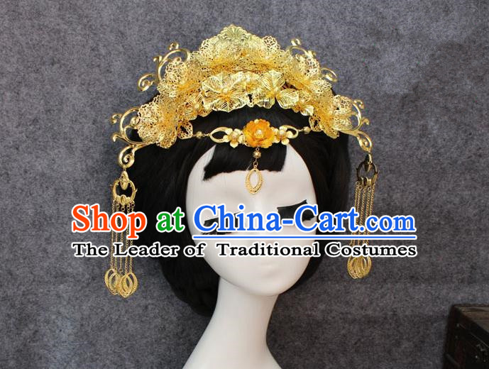 Chinese Ancient Style Hair Jewelry Accessories, Hairpins, Hanfu Xiuhe Suit Wedding Bride Phoenix Coronet, Hair Accessories for Women