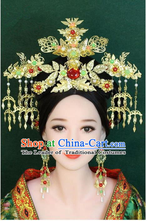 Chinese Ancient Style Hair Jewelry Accessories, Hairpins, Han Dynasty Cosplay Princess Hanfu Xiuhe Suit Wedding Bride Phoenix Coronet, Hair Accessories for Women
