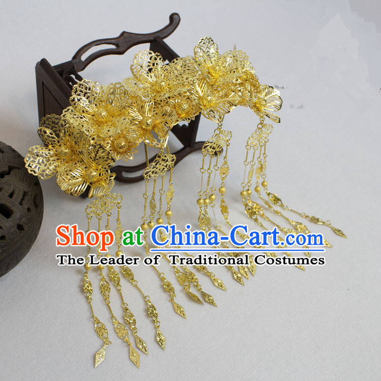 Chinese Ancient Style Hair Jewelry Accessories, Hairpins, Princess Hanfu Xiuhe Suit Wedding Bride Phoenix Coronet, Hair Accessories for Women