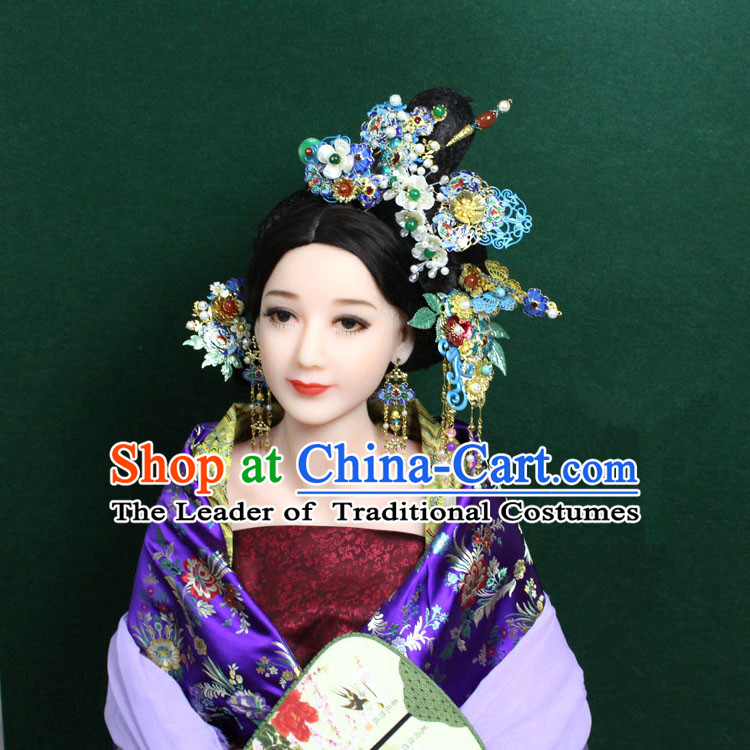 Chinese Ancient Style Hair Jewelry Accessories, Blueing Cloisonne Hairpins, Princess Hanfu Xiuhe Suit Wedding Bride Phoenix Coronet, Hair Accessories Set for Women