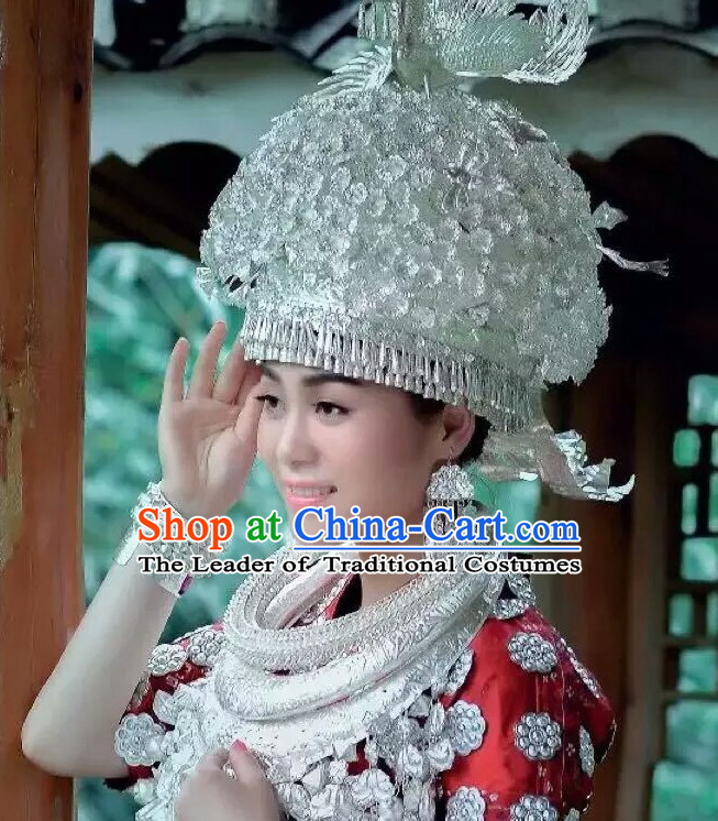 Traditional Chinese Miao Princess Empress Queen Silver Brides Wedding Headpieces Hair Fascinators Jewelry Decorations Hairpins Phoenix Crown Coronet