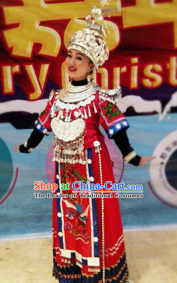 Traditional Chinese Miao Ethnic Clothing and Silver Hat Complete Set for Women or Girls