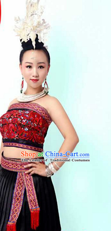 Traditional Chinese Miao Minority Clothing and Silver Hat Complete Set for Women