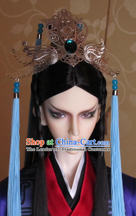 Ancient Chinese Prince Emperor Headwear Headpieces Hair Accessories Crown Coronet Set for Men Boys Adults Kids