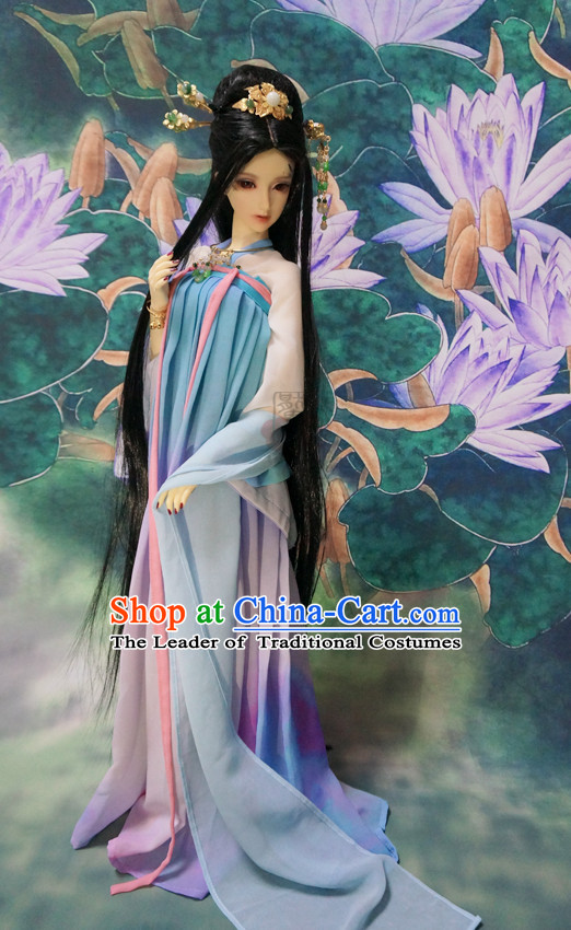 Chinese Style Dresses Chinese Taoist Clothing Clothes Han Chinese Costume Hanfu and Hair Jewelry Complete Set for Women Adults Children