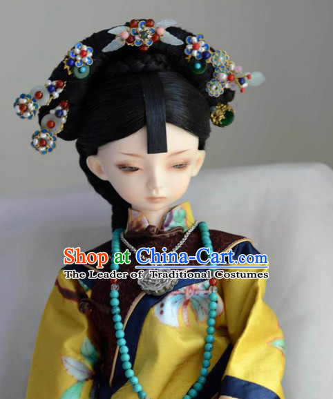Ancient Chinese Female Princess Queen Empress Black Wigs and Hair Accessories