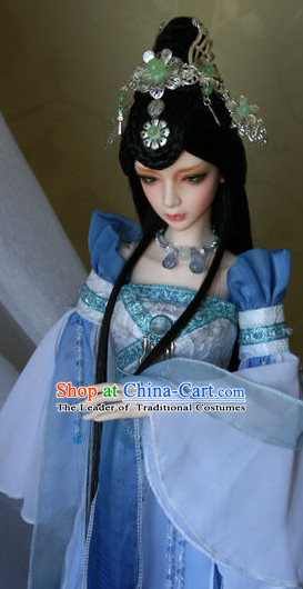 Ancient Chinese Female Black Wigs and Hair Jewelry