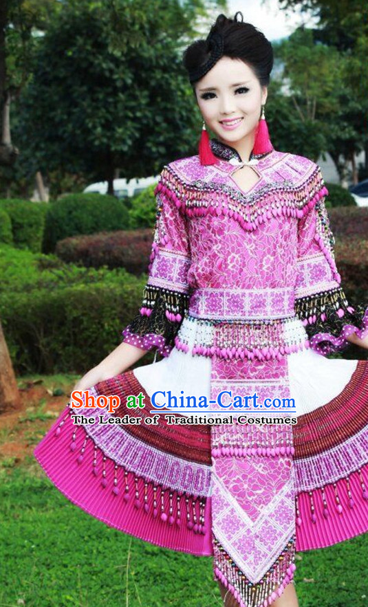 Chinese Traditional Miao Minority Princess Queen Empress Clothes and Hat Complete Set for Women