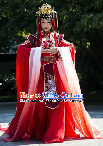 Chinese Ancient Empress Princess Queen Clothing and Headpieces Complete Set for Women Girls Adults Children