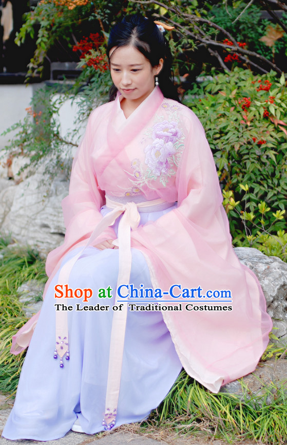 Chinese Ancient Lady Hanfu Clothing Complete Set for Women Girls Adults Children