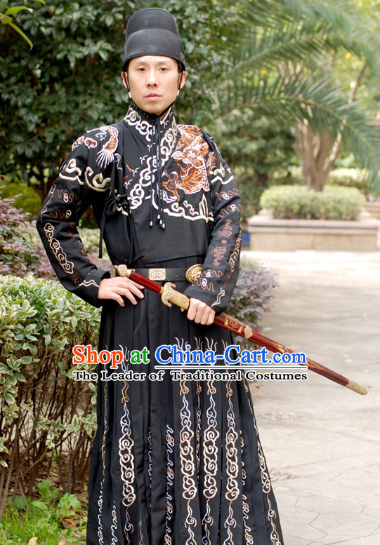 Chinese Ancient Ming Dynasty Bodyguard Clothing and Hat Complete Set for Men Boys Adults Kids