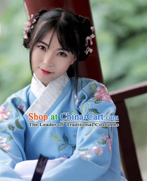 Chinese Ancient Ming Dynasty Hanfu Clothing and Hair Jewelry Complete Set for Women and Girls