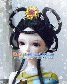 Ancient Chinese Style Princess Empress Long Black Wigs and Accessories for Women Girls Adults Children